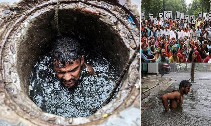 Смертельно опасно: индийские уборщики нечистот регулярно погибают на работе демонстрация, индия, канализация, каста, неприкасаемые, протесты, социальные проблемы, уборщики