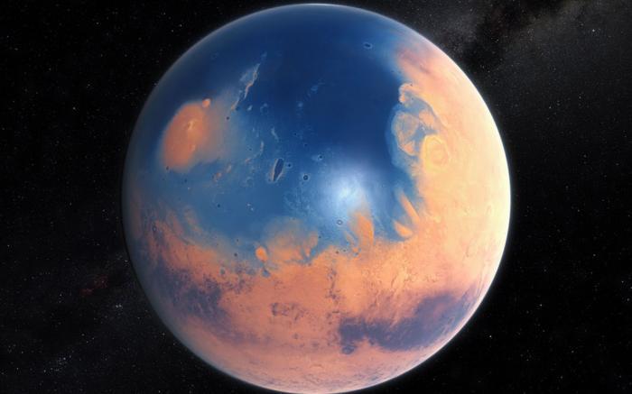 Вода на Марсе Группа ученых доказала, что по крайней мере одна пятая красной планеты была полностью покрыта самой настоящей H20. Все признаки жизни, которые наверняка существовали в океане, могут быть найдены глубоко в песках Марса. Интересно, что жизнь на Земле зародилась примерно в тот период, когда на Марсе пересохли последние озера.