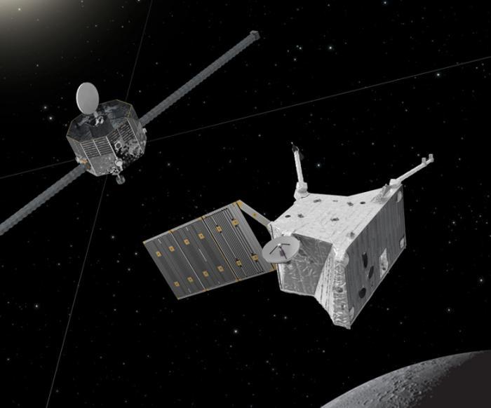 Так художник представил себе зонды миссии BepiColombo у Меркурия