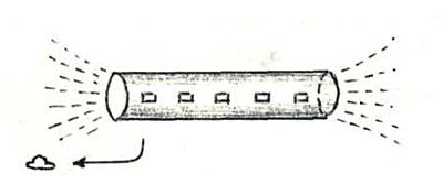 Корабль-«матка» цилиндрической формы более 600 м длиной. Малые модули-дискоиды влетают в порты