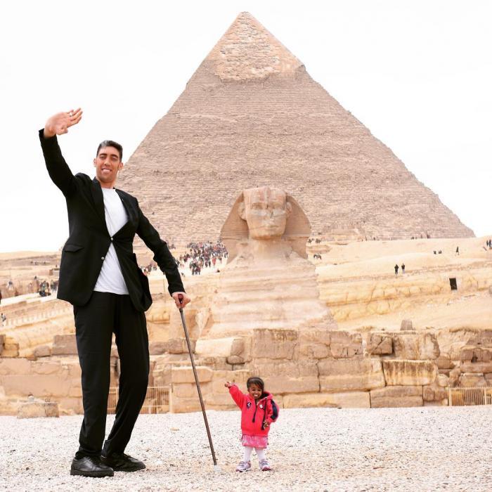 Самый высокий мужчина и самая низкая женщина