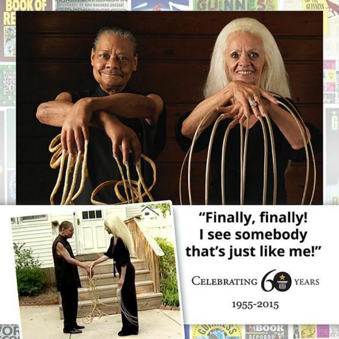 Мужчина и женщина с самыми длинными ногтями