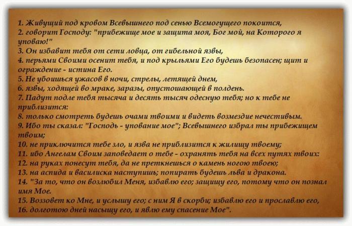 Псалом 90 — молитва Живый в помощи: текст на русском и старославянском (3 фото + видео)
