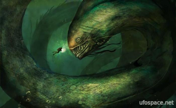 Собачий лай раздражал водяного монстра (2 фото)