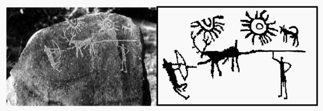 На древних камнях из Индии нашли изображение космической катастрофы (4 фото)