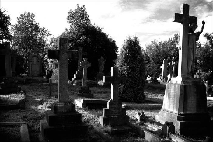 Быть на кладбище в одиночестве, в компании.